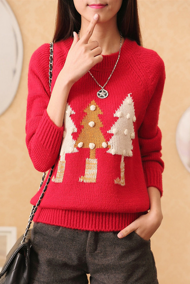 Red Christmas tree printed sweaters