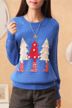 Blue Christmas tree printed sweaters