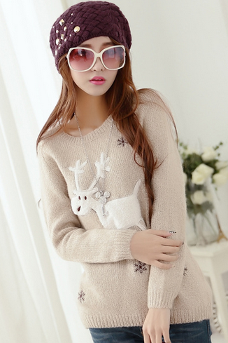 Reindeer embroidery sweater