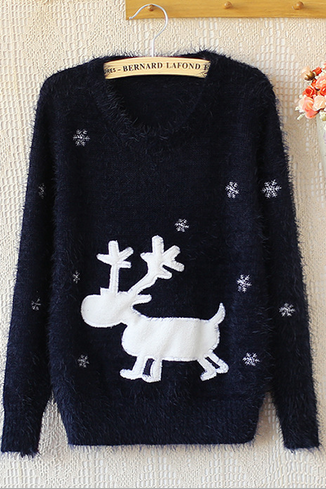 Loose the fawn round collar jacquard knit sweater