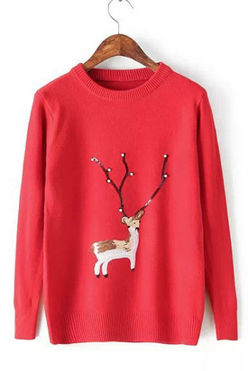 Reindeer sequins sweater