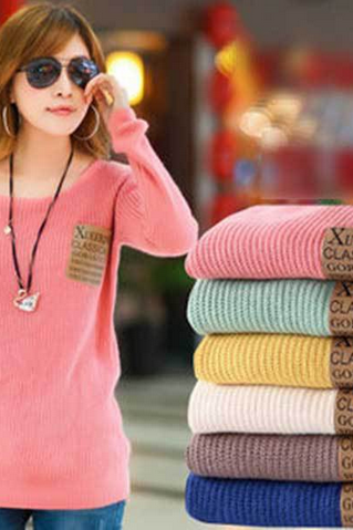 Round collar more loose long sleeve knit sweater - 6 color