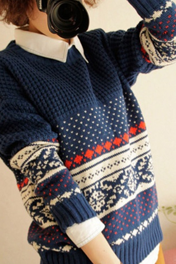 Snowflakes long-sleeved loose sweaters
