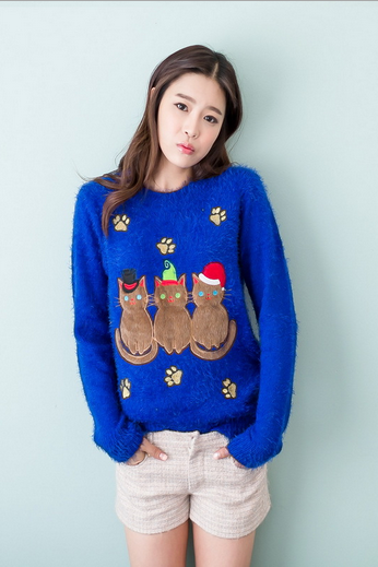 Cartoon embroidered long-sleeved sweater