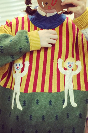Lovely turtle neck striped clown long-sleeved sweater