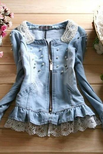 Pearl Collar Denim Jacket