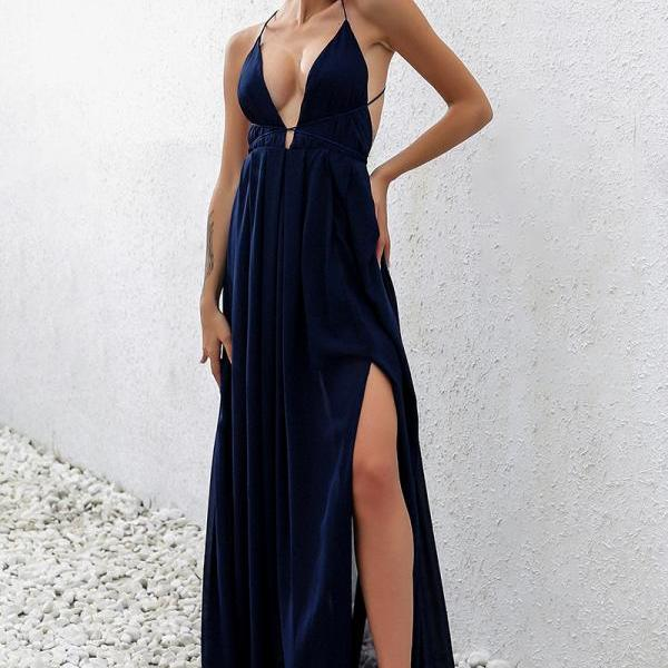 Sexy Chiffon Summer Maxi Dress in Blue