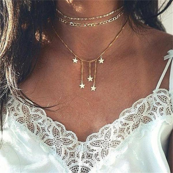 3 Pcs/ Set Tassle Star Charmed Necklace