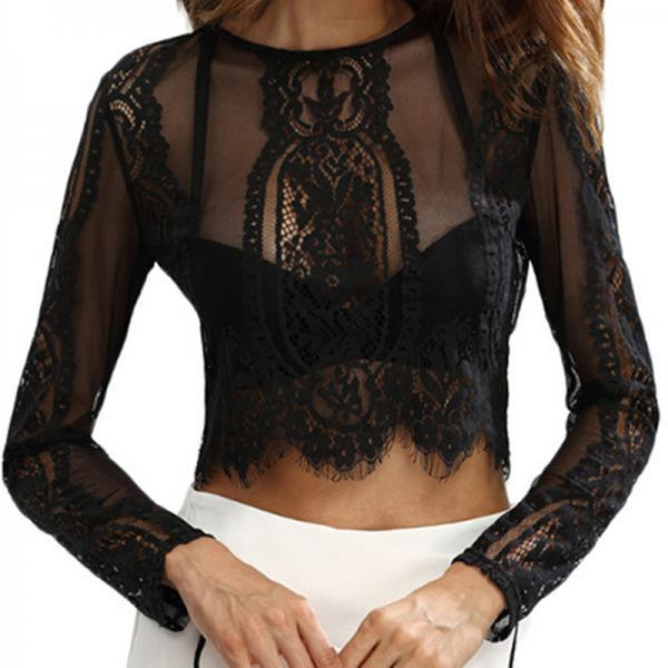 Sexy Long Sleeve Transparent Lace Top
