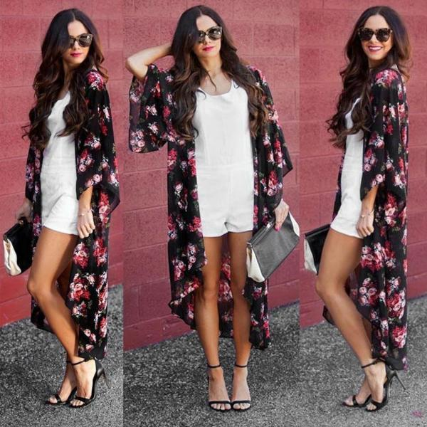 Ladies Floral Kimono Blouse Summer Dress and Beach Cover up
