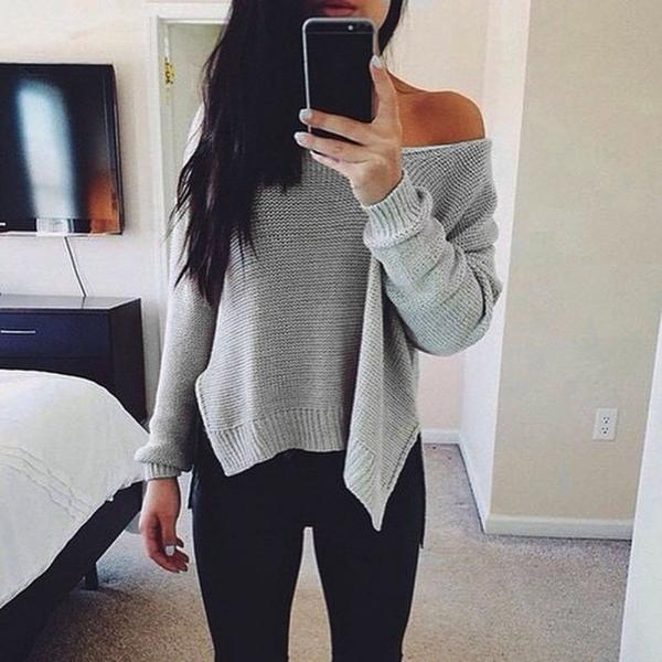 Women Long Sleeve Knitted Loose Pullover