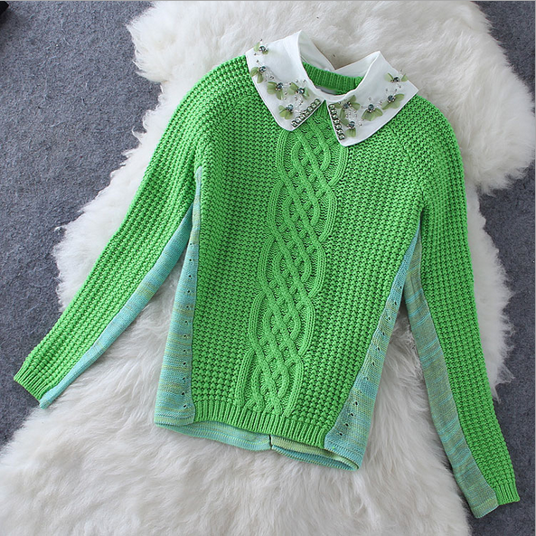 Women's fashion temperament Beaded doll collar after the slits long sleeves sweater