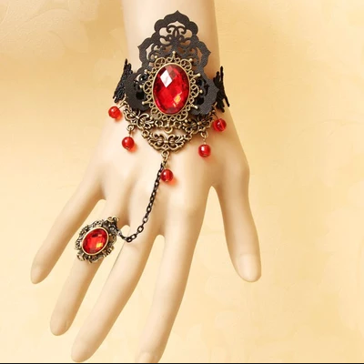 Wrist bracelet with retro vampire one chain ring female jewelry