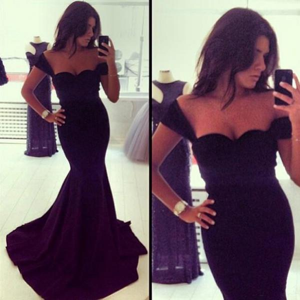 Elegant Black Off Shoulder Floor Length Mermaid Dress