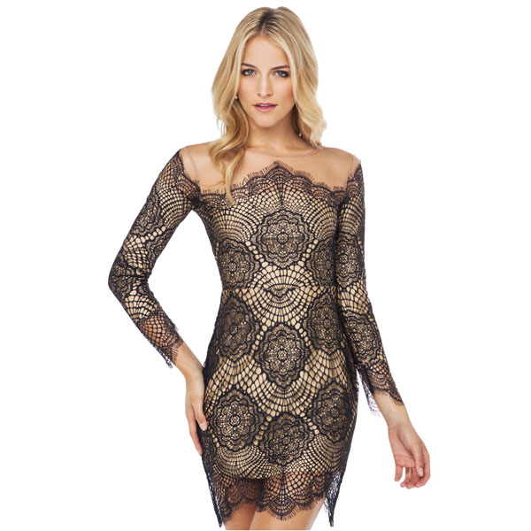 Lace Grenadine Long Sleeve Dress/Party Dress