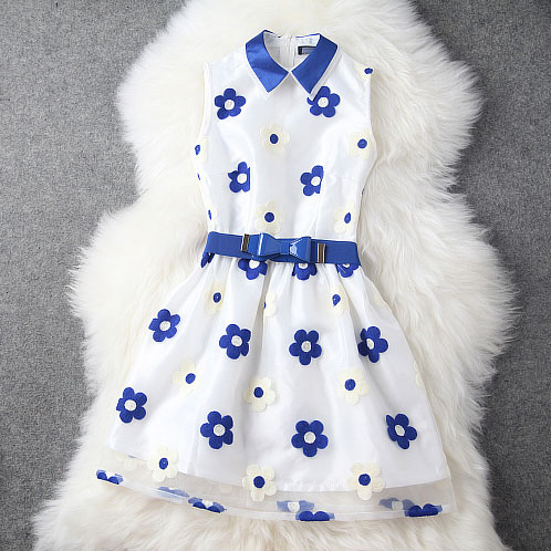 New Fresh Embroidery Bow Belt Dress/Party Dress