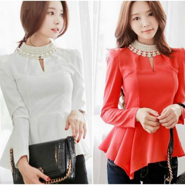 Pear Beaded Long Sleeve Peplum Blouse