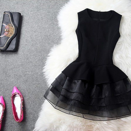 In the spring of 2015 new organza dress-Black