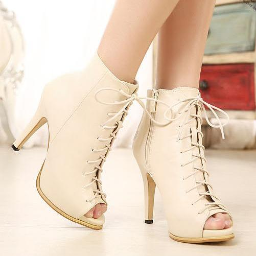 Sexy Apricot Lace Up Peep Toe High Heels Fashion Boots