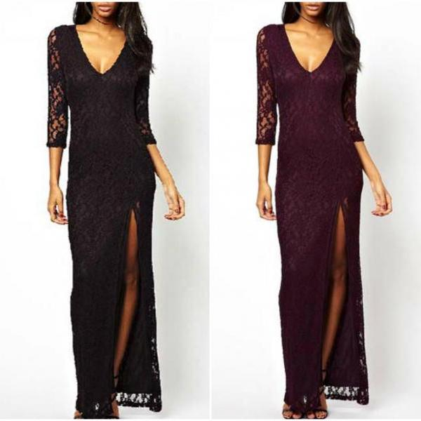 Elegant Long Sleeve V Neck Lace Dress With Slit