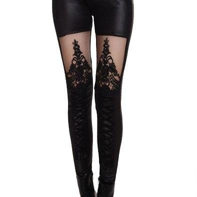 Cute Black Legging With Beautiful Lace Details