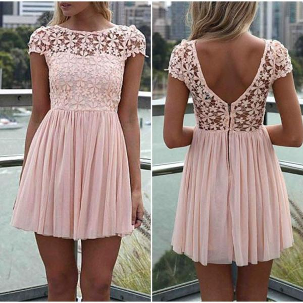 Round Neck Lace Patchwork Pink Dress