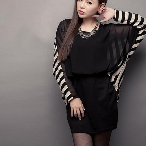 Black Bat Wing Stripes Chiffon Dress
