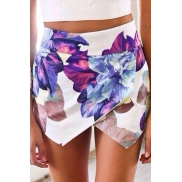 Chic Floral Printed Elastic Waist Shorts