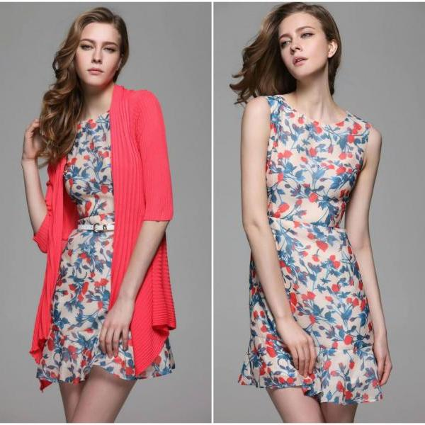 Gorgeous Floral Pattern Sleeveless Fitted Dress