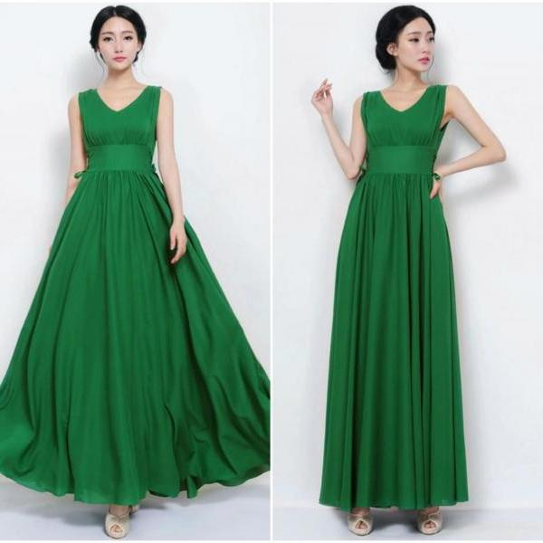 Green V Neck Maxi Dress