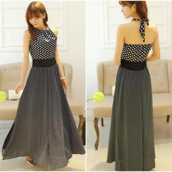 Beautiful Halter Polka Dots Maxi Dress