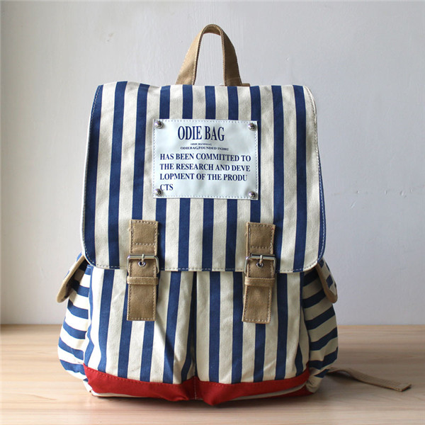 Stripes Printed Backpack With Double Buckle Detail