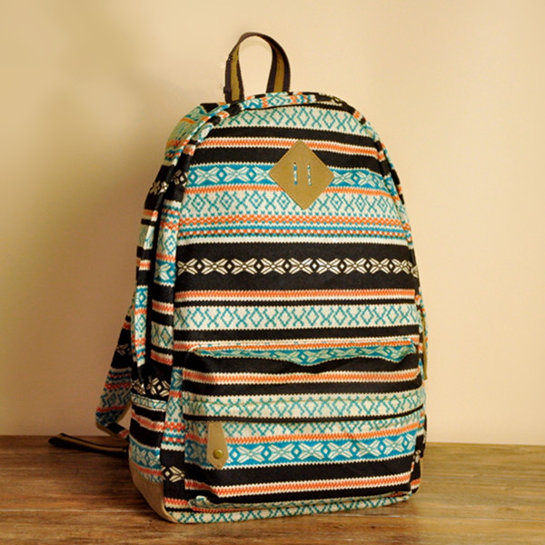Knitted Stripes And Rhombus Backpack