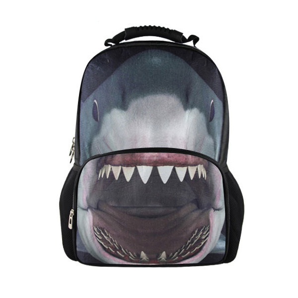 Shark Printed Backpack In Black