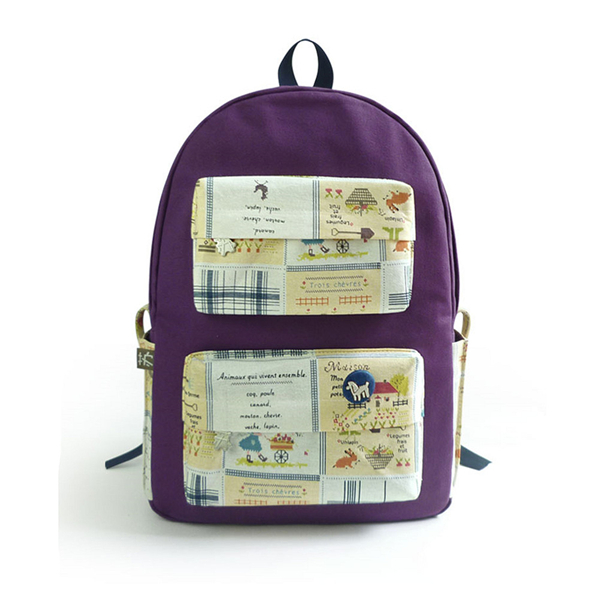 Country Life Print Canvas School Bag Travel Backpack