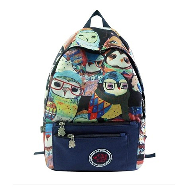 Owls Print Canvas School Bag Travel Backpack