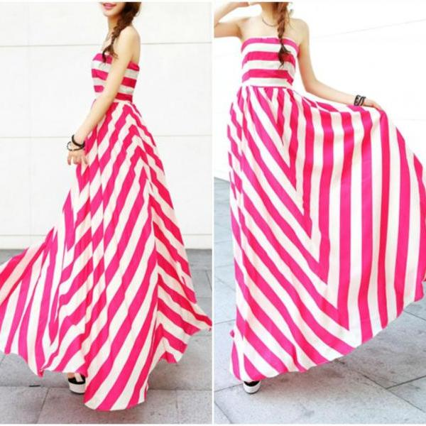 Gorgeous Off Shoulder Striped Long Dress