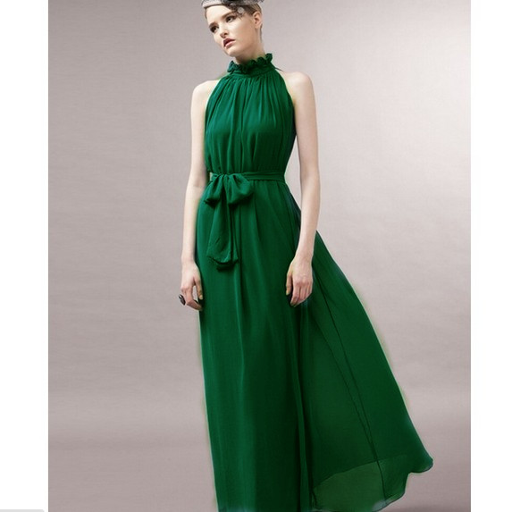 Bow Belt Chiffon Maxi Dress In Deep Green