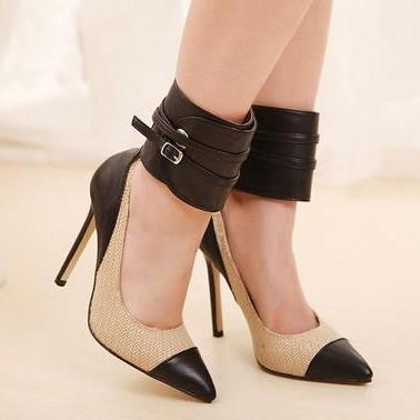 Super Sexy Ankle Strap Pointed Toe High Heels Fashion Pumps
