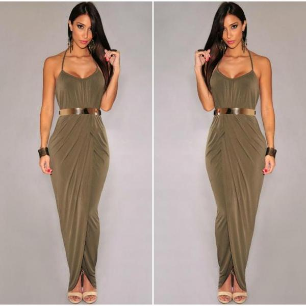 Elegant Spaghetti Strap Goddess Dress With Belt