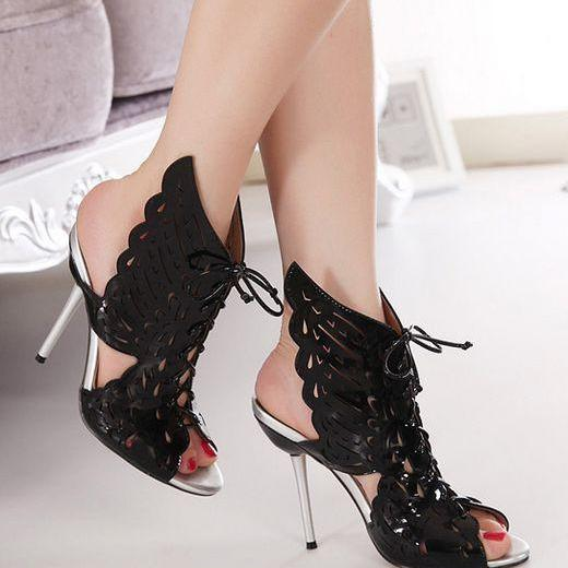 Sexy Lace Up Angel Wings High Heels Shoes In Black