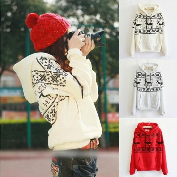 Deer Hooded Sweater Shirt For Women