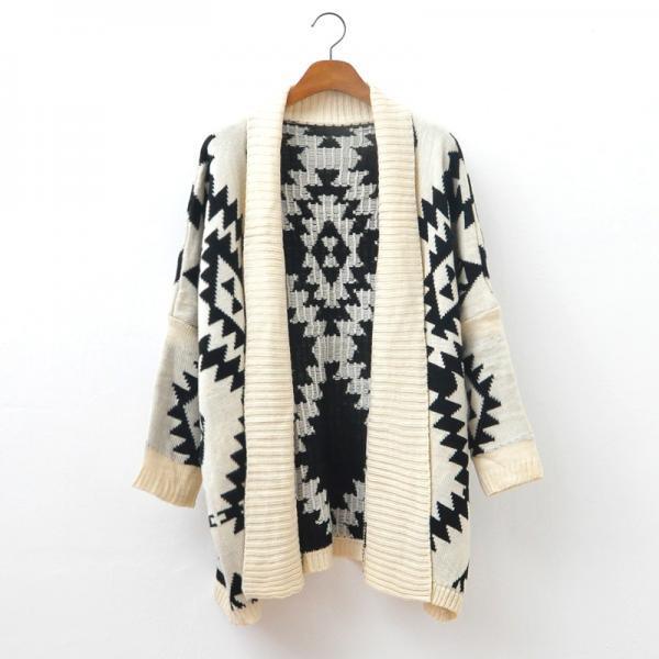 Loose Sweater Wild Geometric Patterns