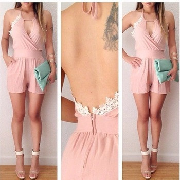Pink Backless Jumpsuits