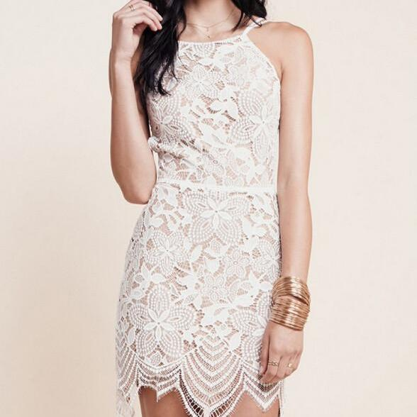 SEXY LACE BACKLESS SHOULDER STRAP DRESS