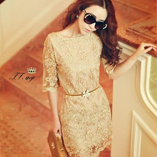 Vintage gold embroidery lace dress