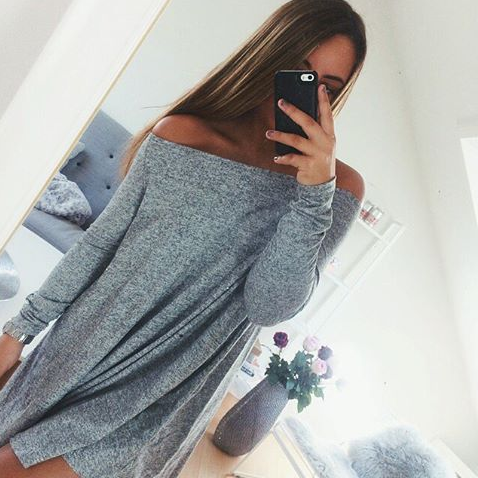 Grey Off Shoulder Long Sleeve Shirt Dress