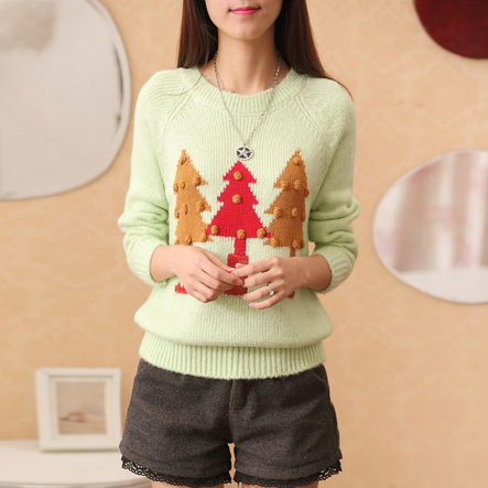 Green trees printed sweaters