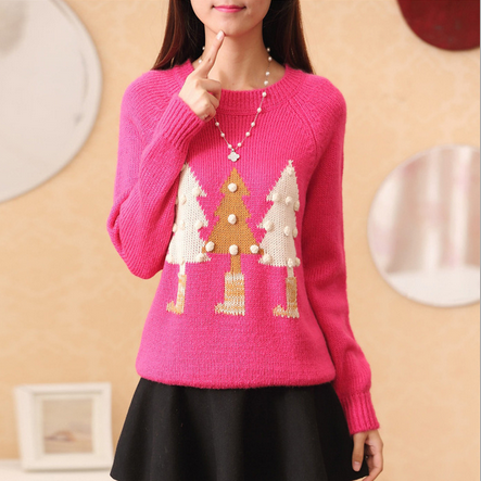 Mei red Christmas trees printed sweaters