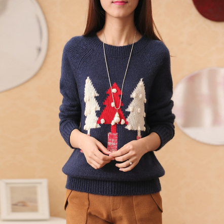 Navy blue Christmas trees printed sweaters